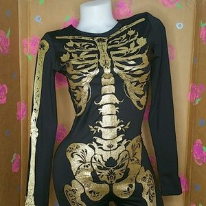 Sexy Skeleton Bodysuit Costume Divided Small